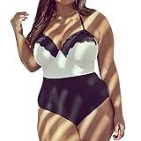 QinMM Bañador para mujer talla grande, Bikini push up trajes de baño playa de verano monokini (Blanco, 4XL)