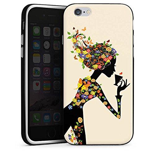 Apple iPhone X Silikon Hülle Case Schutzhülle Kaffee Blumen Silhouette Silikon Case schwarz / weiß