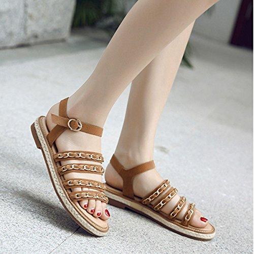 Damen Sandalen Schnalle Metallkette Flache Slingback Römische Stil Modische Schuhe Braun