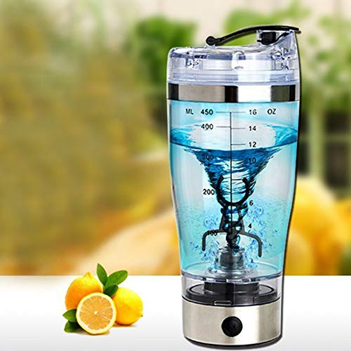 3nh USB Electric Stainless Steel Protein Powder Shakes Bottle Leakproof Lid Shaker Water Bottle Auto Stirring Coffee Glass 450ml: 450ml