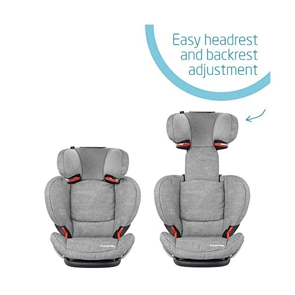 Maxi-Cosi RodiFix AirProtect Child Isofix Extra Protection Booster Car Seat, Nomad Grey, 15 - 36 kg, 3.5 - 12 Years Maxi-Cosi Booster car seat for children from 15-36 kg (3.5 to 12 years) Grows along with your child thanks to the easy headrest and backrest adjustment from the top Patented AirProtect technology for extra protection of child's head 6