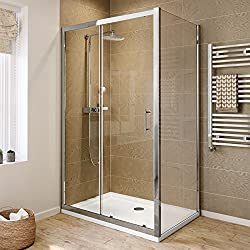 iBathUK 1200 x 760 Modern Sliding 6mm Glass Shower Enclosure Cubicle Door + Side Panel