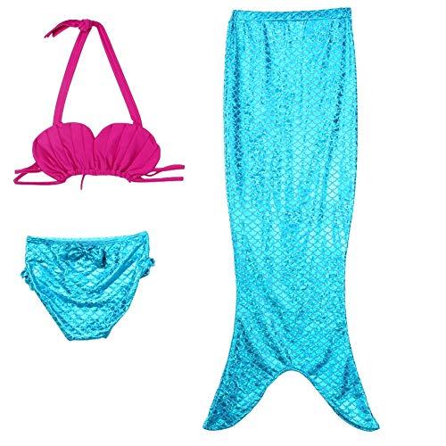 Wal front Kinder Mädchen Meerjungfrau zum Schwimmen mit Monofin Badeanzug 3 Stück Bikini-Sets