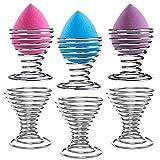 Fil d'acier spirale Chromé support pour œufs de service Tasses, maquillage Éponge Beauty Blender Supports, Lot de 6