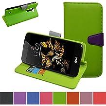 LG K8 Custodia,Mama Mouth Portafoglio custodia in PU di cuoio pelle con supporto carte di credito in Piedi caso Case per LG K8 Smartphone,Verde