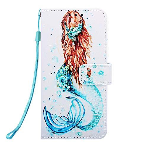 Miagon für Huawei Honor 10 Lite Leder Hülle,Klapphülle mit Kartenfach Brieftasche Lederhülle Stossfest Handy Hülle Klappbar,Meerjungfrau
