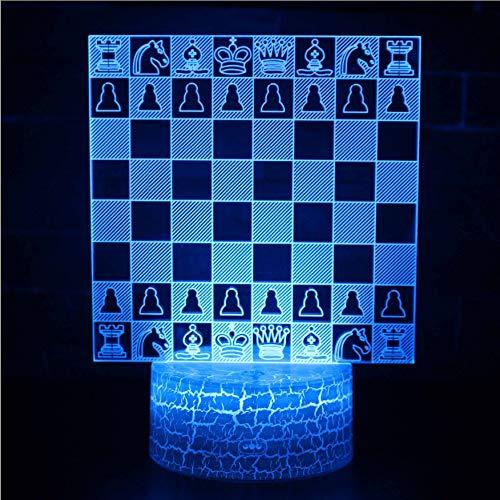 Internationale Schach 3D Usb Nachtlicht Fernbedienung 7 Farben Tischlampe Led Mädchen Weihnachten Kreatives Geschenk Spielzeug - Sockel Schach