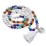 JOVIVI Schmuck,Natürlich Chakra Stein Perlen 108 Stk. Lebensbaum Tibetanischer buddhistischen Gebetskette Buddha Mala Kette Halskette,Weiß Türkis