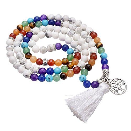 JOVIVI 6mm 108 Perlen Mala Kette 7 Chakra Edelstein Buddha Armband Wickelarmband mit Lebensbaum Anhänger Energietherapie Yoga Halskette Gebetskette/Howlite