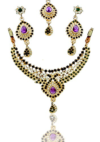 Neckles set For Women & Girls.GOLD Plated Australian Diamond Choker Necklace With Earrings Set For Womesn from JewelTech. High Quality Crystal Clear Rhinestone & Enamel. Suitable For Wedding, Festival, Traditional & Daily Wear. Premium Quality Metal Used & Precise Finishing.  available at amazon for Rs.149