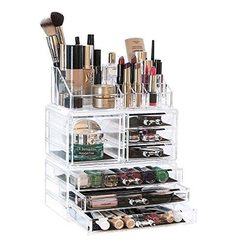 KOSMETIK SORTIERKASTEN / ORGANIZER zur Aufbewahrung von Make-up aus Acryl - Schminkbox mit 7 Schubladen und zahlreichen Fächern...