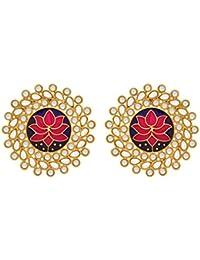 JFL - Traditional And Ethnic One Gram Gold Plated Lotus Meenakari & Kundan Designer Big Stud Earring For Girls...