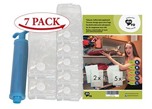 7 Vakuumbeutel für Kleidung | MY VACUUM-BAG TO STORE | extra stark | mehrere Größen | 80% weniger Volumen | wiederverwendbare Aufbewahrungsbeutel schützt die Kleidung vor Feuchtigkeit, Motten Ac-vakuum-pumpe