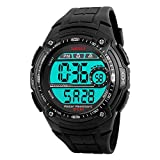 Farsler Men's 50M Waterproof EL Light Big dial Electronic Watch Alarm Stopwatch Time Outdoor Swimming Diving Male Student Sports Digital Wirst Watch(Black)