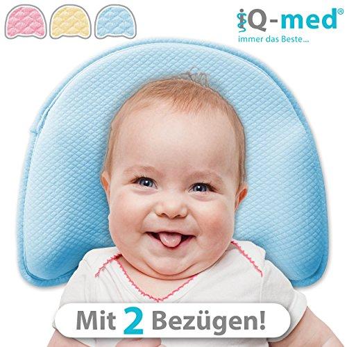 Babykissen Premium von iQ-med   mit 2 Bezügen   gegen Plattkopf und Verformung (Gelb)