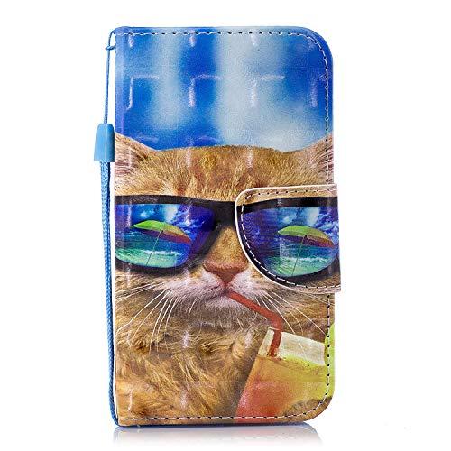 Wiko Sunny 2 Flip Hülle Cover, 3D Muster Brieftasche Wrist Strap Case Tasche Magnet Handytasche [Kartensteckplatz] PU Leder Schutzhülle mit Ständer Funktion für Wiko Sunny 2/II (Brille Katze)