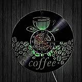CQAZX Coffee Shop Art Décoration Murale Grains De Café Mug Vinyle Record Horloges...