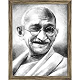 #10: Pitaara Box The Father Of The Nation India, Mahatma Gandhi Canvas Painting Antique Golden Frame 19 x 24.5inch
