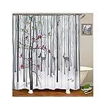 Gnzoe Polyester Badewanne Vorhang Karikatur Wald Muster Design Duschvorhang Mehrfarbig für Badezimmer/Badewanne 165x180CM