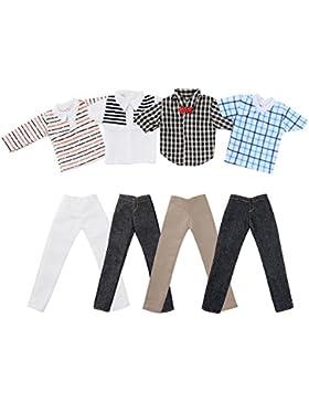 ASIV 4 juegos de ropa casual para Barbie novio Ken muñecas, incl. 4 Pz Muchacho Camisetas y 4 Pz Pantalones vaqueros...