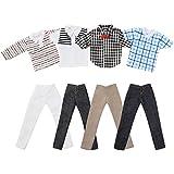 ASIV 4 Manches Courtes et 4 Pantalons Vêtements Décontractés pour Petit Ami de Barbie Ken Poupée, Style Aléatoire