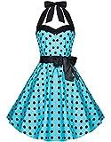 Zarlena Damen 50er Retro Rockabilly Polka Dots Petticoat Neckholder Kleid Türkis mit schwarzen Dots 2X-Large 906-XXL