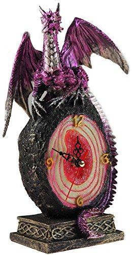 Morado dragón 25cm Core–Reloj de mesa de cristal de amatista