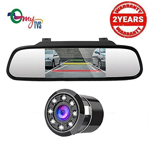 myTVS TRV-37 4.3 Inches Car Rear View Mirror & Reverse Camera with 2yr Warranty-For All Cars