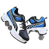 YXRPK Rädern Sportschuhe Multifunktionale Deformation Schuhe 2 in 1 Quad Rollschuhe Skating, Beste Wahl Als Geburtstagsgeschenk,43