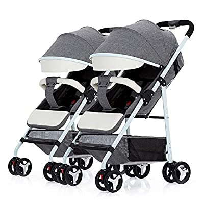 TCYLZ Cochecito de bebé Gemelo, Carro Infantil Desmontable, Puede Sentarse o acostarse Cochecito Plegable Plegable de Doble Carro Ligero Cochecito de Viaje