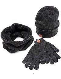 3Pc Invierno Gorro de Punto Suave Bufanda Pantalla Guantes Conjuntos Para  Hombre o Mujer - OXOK 81e26dbc0c4
