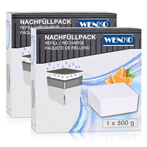 Wenko 50261100 Design Raumentfeuchter Cube Nachfüller Orange 500g (2er Pack)