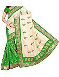 Macube Women's Cotton Silk Saree With Blouse Piece (Ms103_02_Green)