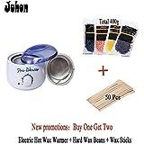 JUHON Kit de dépoussiérage (Acheter un Obtenez deux) Chauffe-chaleur électrique à cire chaude + Haricots à cire dure + Bâtons de cire