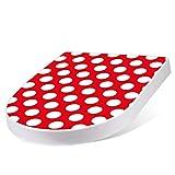 banjado Design Toilettensitz mit Absenkautomatik, WC-Sitz weiß, Klodeckel mit Edelstahl Scharnieren, Toilettendeckel mit Motiv Punkte Rot