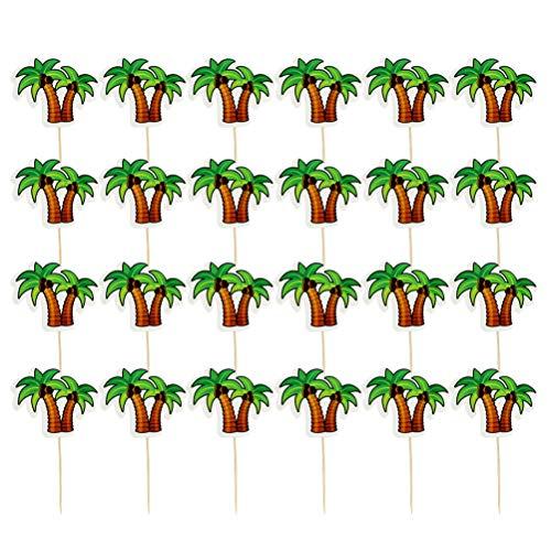 Kuchen Topper Kokosnuss Palm Papier Cupcake Dekoration Dessert Picks Dekoration für Luau Hawaiian Geburtstag Party 24 Stücke ()