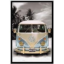 VW Camper van California poster Nero con cornice & Raso Matt Laminato–96.5x 66cms (circa 96,5x 66cm)