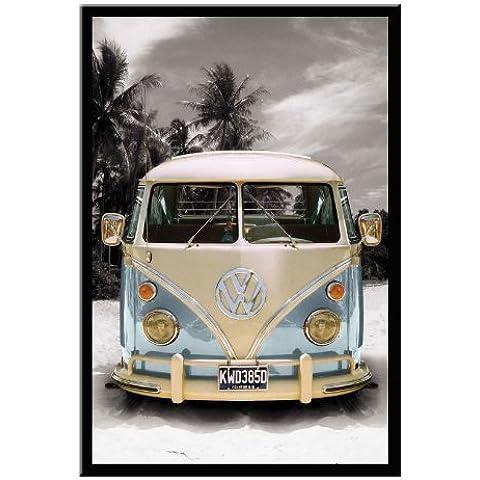 VW Camper van California poster Nero con cornice–96.5x 66cms (circa 96,5x 66cm)