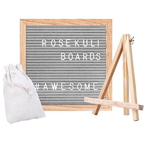 Rose Kuli Filz Brief Board - Rahmen aus Massiver Eiche Letterboard Grau Briefbrett 352 weißen Tafel Memoboard Buchstaben und Sonderzeichen sowie Zahlen - 25.4 x 25.4 cm - Retro Design