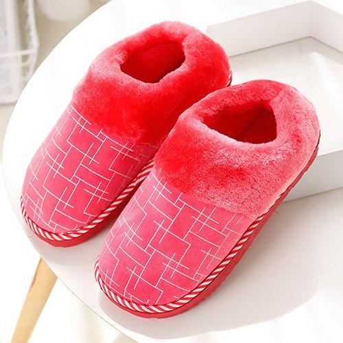 DogHaccd pantofole,Giorno di autunno e inverno paio di pantofole di cotone felpato cartoon-pavimento pulito pantofole home scarpe caldo Il rosso4