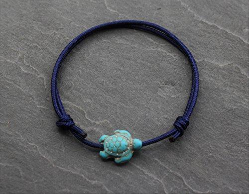 Fußkette Fußschmuck Fußkettchen Fußbändchen Dunkel Blau Türkis Schildkröte Surfer Handmade Schmuck