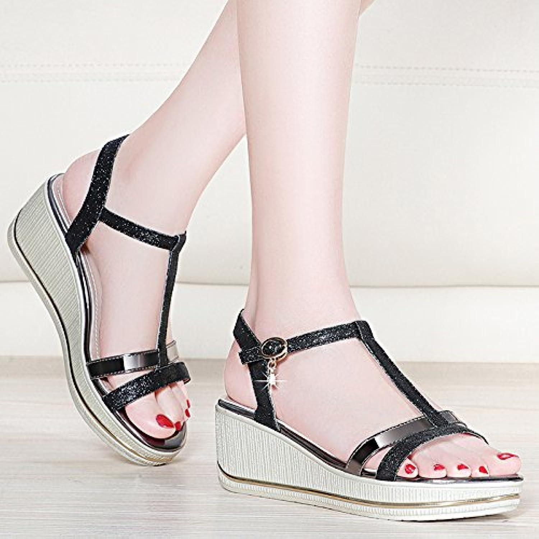 HUAIHAIZ Tacones de mujer Sandalias espesor sexy y elegante de alta Heel Shoes noche zapatos,36, gun colour