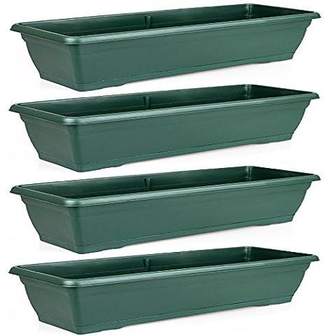 Rectangular 72cm Large Green Garden Plastic Trough Balcony Planter Flower Plant Pot Tub Window Box (Set Of 4
