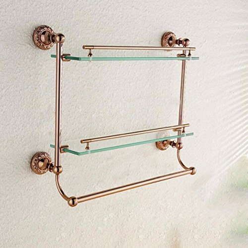 MBYW moderner, minimalistischer Handtuchhalter mit hoher Tragkraft Eleganter Badhandtuchhalter Rose Gold Double Glass Shelf mit Handtuchstange Frisiertisch Badezimmer Glas Stand (Gesicht Mit Ihrem Stand-ins)
