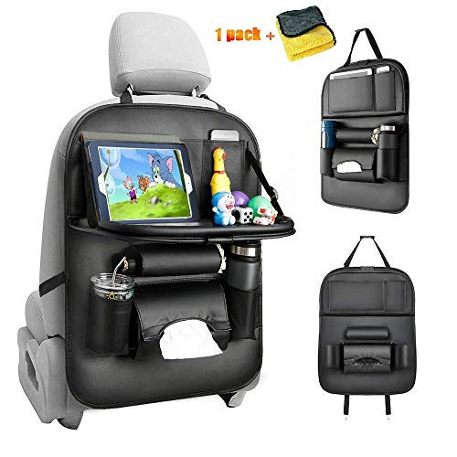 Protezione Sedile Auto Bambini, PU leather Proteggi Sedili Auto Bambini Organizer Auto con Multi-tasca e tavolino pieghevole iPad...
