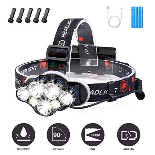 YEFIDER LED Stirnlampe, Superheller 12000 Lumen 7 LED 8 Modi Kopflampe mit Warnleuchte, USB Wiederaufladbare wasserdichte Kopflampe für Arbeit Outdoor Camping Wandern Angeln