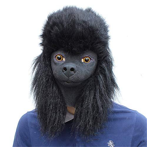 Pudel Kostüm Lustige - QNFNB Lustig Emulsion Tier Hundemaske Halloween Kostüm-Party Pudel Kopf