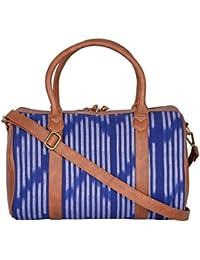 Kalamargam Collectieve Handwoven Ikat & Vegan Leather Multicolour Softsided Travel Duffle