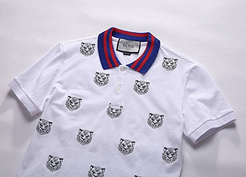 ECTIC Hot Men Poloshirts Short Sleeve Embroidered tiger Casual Polo Shirts M-XXXL G9125 White