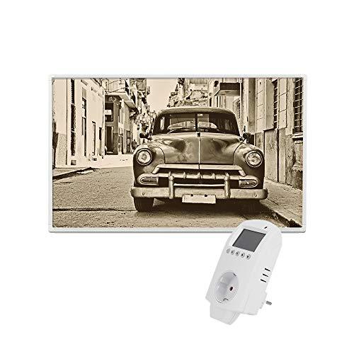 Eldstad Infrarotheizung 600W Thermostat Bildheizung Heizpaneel Infrarot Heizkörper Elektro Heizung mit Motiv (inkl. Thermostat, Auto)